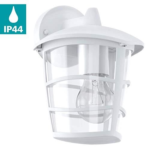 EGLO Außen-Wandlampe Aloria, 1 flammige Außenleuchte, Wandleuchte aus Aluguss und Kunststoff, Farbe: Weiß, Fassung: E27, IP44