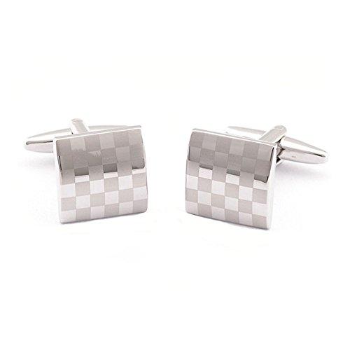 1 par gemelos plateados forma tablero ajedrez camisa