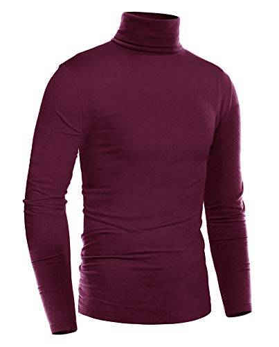ZEGOLO Mens Slim Fit Basic Thermal Turtleneck T Shirts Casual Knitted Pullover Sweaters Wine Red S