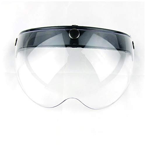 Wancar Universal Motorcycle Retro Pilot-Style Standard 3 Snap-Button Visor Flip Up Down Open Face Helmet Wind Shield(Clear)