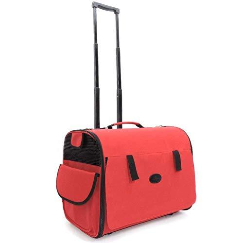 WWQQ Funda para carrito de mascotas, mochila para mascotas con ruedas, asa telescópica para viajes, senderismo, camping