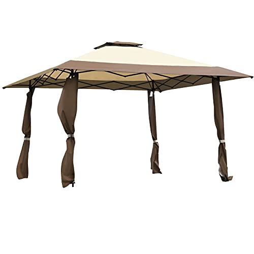 COSTWAY 4 x 4m Pop up Outdoor Gazebo, Patio Party Tent with 2-Tier Roof and Carrying Bag, Large Marquee Canopy Shelter for Backyard, Garden Event (Brown+Beige)