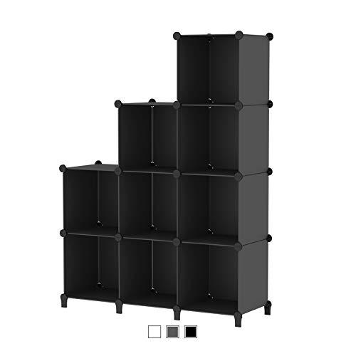 SIMPDIY DIY Regalsystem, Steckregal Standregal mit 9 Würfeln, Kleiderschrank für Schlafzimmer badregal,schuhregal im Wohnzimmer, 93x93x30cm, Schwarz