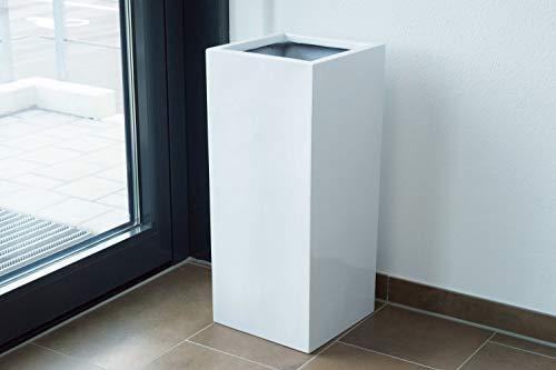 Elegant Einrichten Pflanzkübel, Blumenkübel Fiberglas säule 30x30x90cm Hochglanz weiß.