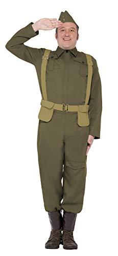 """Smiffys-22132L Disfraz de Soldado Raso del Cuerpo de Voluntarios de la 2a Guerra Mundial, Pantalones, espinilleras, Chaqueta, Gorra y cinturón arnés, Color Verde, L-Tamaño 42""""-44"""" (Smiffy"""