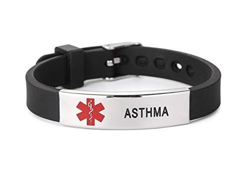 Asthma Medical Alert ID Bracelet Silicone Wristband for Kids Women Men Black