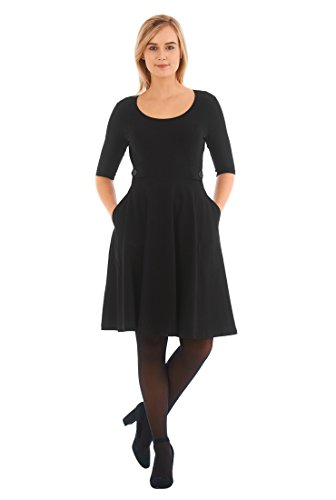 eShakti Women's Button tab waist cotton knit dress L-14 Short Black