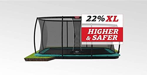 BERG Trampoline Flatground Champion rectangular 410 with Safety Enclosure Net Deluxe XL   Premium Trampoline, Kids trampoline, Longer Lifetime Warrenty, Jump higher with TwinSpring and Airflow