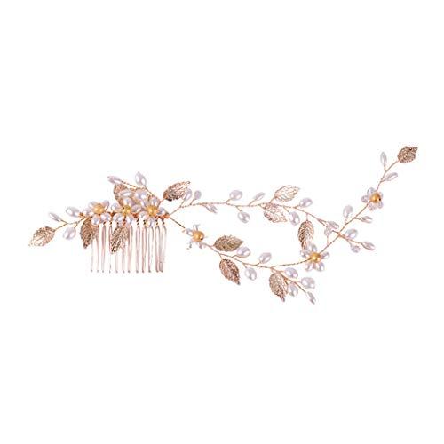 Cuigu Braut Kamm, Handgefertigte Perle Golden Leaf Hochzeit Braut Haar Kamm Elegante Haar Stifte Haarschmuck Schmuck Frauen Haarschmuck