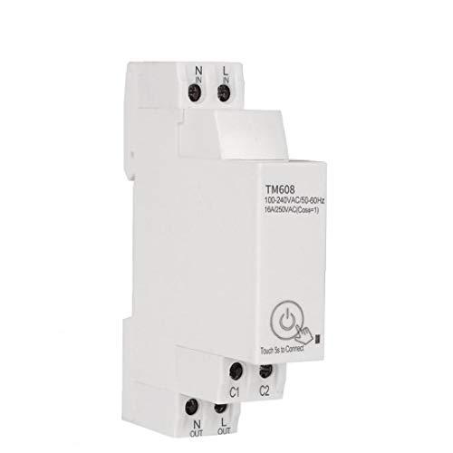 Rrunzfon Interruptor de sincronización Wi-Fi TM608 App Inicio de múltiples Funciones Elegante de una Sola Fase de ejecución medidor de energía Escalera TimerHigh performanceHigh