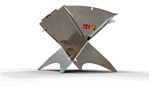 ZWEEnHALB - Mobiler und steckbarer Holzkohle-Grill aus Edelstahl für Camping, Trekking, Camper, Garten und Outdoor Grill-Spaß