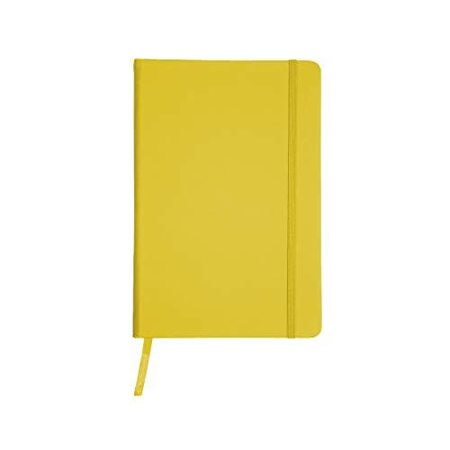 Projects - Taccuino ecologico 'Business' in formato A5 a righe 80 G/M2 carta FSC 192 pagine, copertina rigida con rivestimento Soft Touch in PU & segnalibro a nastro giallo.