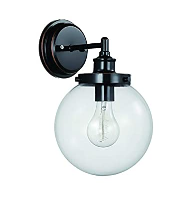 "Amazon Brand – Stone & Beam Industrial Wall Sconce Light, 13.08""H, Chrome"
