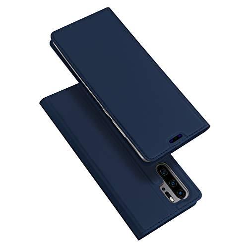 DUX DUCIS Hülle für Huawei P30 Pro, Leder Flip Handyhülle Schutzhülle Tasche Hülle mit [Kartenfach] [Standfunktion] [Magnetverschluss] für Huawei P30 Pro (Blau)