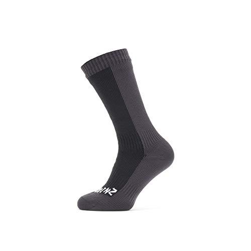 SEALSKINZ Unisex Waterproof Cold Weather Mid Length Sock, Black/Grey, Large