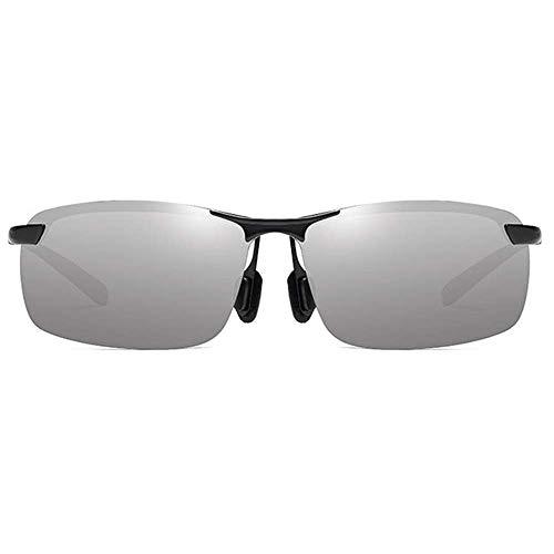 KCGNBQING Gafas de sol Half Frame Deportes Anti-glare Metal Material UV400 Gafas de sol Naranja/Verde Amarillo/Plata Cuadrado Hombres Gafas de sol Moda Gafas de sol Hombres (Color: Plata)
