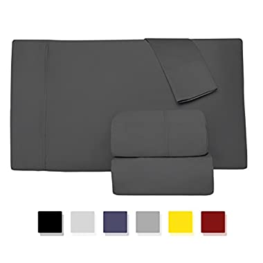 Comfy Sheets Luxury 100% Egyptian Cotton - Genuine 1000 Thread Count 4 Piece Sheet Set-Fits Mattress Up to 18'' Deep Pocket (King, Dark Grey)