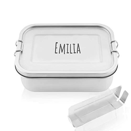 ecoGecko® Premium Brotdose aus Edelstahl | mit individueller Gravur | personalisiert | auslaufsicher & dicht | Die hochwertige Lunchbox für Kinder und Erwachsene | 800ml | mit Trennwand