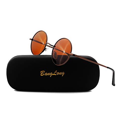BangLong Lunettes de Soleil Rondes pour Hommes et Femmes, Lunettes de Soleil rondes Polarisées, Lunettes de Soleil rétro Vintage avec Lentille Miroir