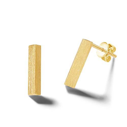 Solide 14 Karat 585 Gold Klein Ohrringe Ohrstecker Stab Minimalist Schmuck für Damen Mädchen - Größe: 9 * 2 mm