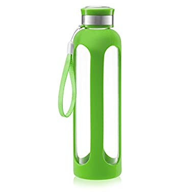 Swig Savvy Glass Water Bottle – 20oz / 32oz Break-resistant Borosilicate Glass + Silicone Protective Sleeve. BPA-Free Durable & Stylish (Green, 32oz)