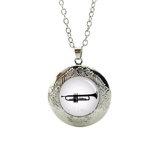 Collar largo con forma de cúpula de cristal, tromba, cornetto, regalo de músicos, collar con medallón de teclado para hombre