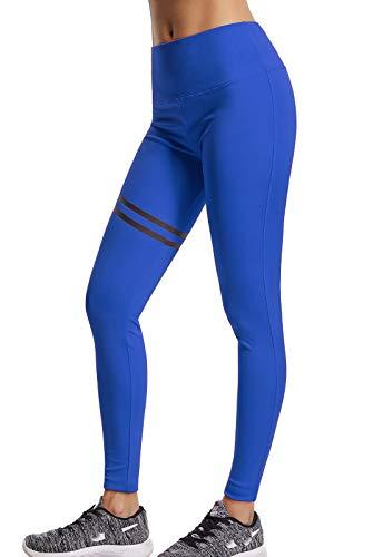 FITTOO Pantalones Deportivos Mujer Yoga Leggings de Alta Cintura Elásticos y Transpirables para Running Fitness 260#2 Negro & Rosa Large