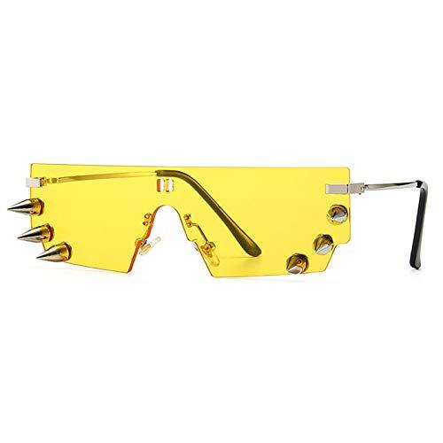 SHEEN KELLY Gafas de sol de moda con parte superior plana para hombres mujeres gafas de sol con remaches retro gafas de sol para fiestas