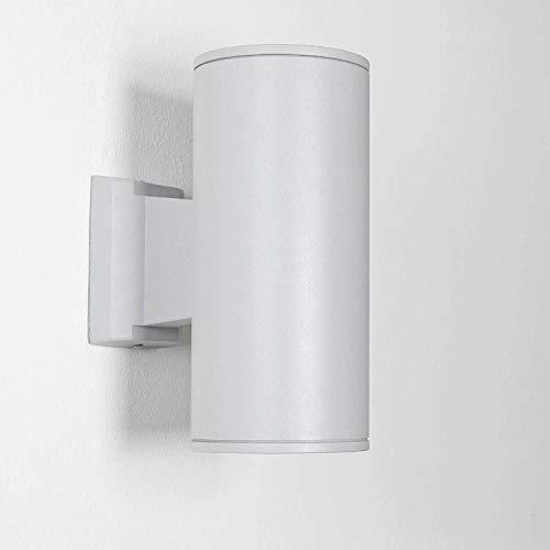 Lichtervaringen, grijze buitenlamp HAMBURG 24 cm hoog Up Down modern, 2x E27 fitting tot 60 W IP44