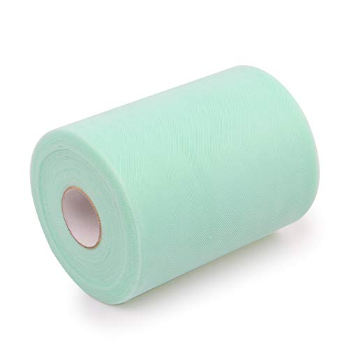 ZKC Tulle Fabric Rolls, 6 Inch x 100 Yards (300 feet) Tulle Spool for Wedding Party Decorations Gift Bow DIY Craft Tutu Skirt (Tiffany)