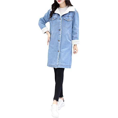 Giacca di jeans felpata con cuciture a bavero da donna Giacca di jeans di media lunghezza Moda confortevole addensare caldo Cappotto con bottoni streetwear Autunno e inverno S