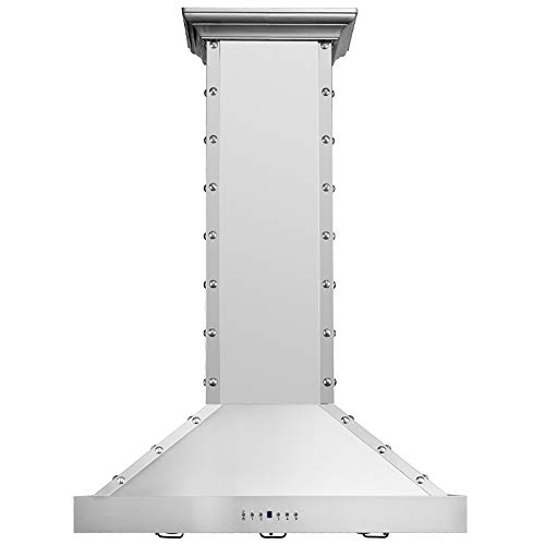 CAVALIERE Island Mounted Range Hood 36' Inch Kitchen Vent Fan in Brushed Stainless Steel - 4 Speed Soft-Touch Electronic Control Panel With LED Lighting, 900 CFM