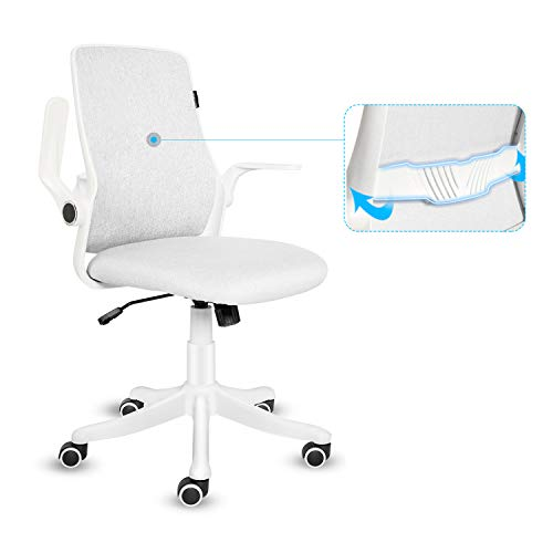 Fullwatt - Sedia da ufficio con bracciolo ribaltabile, ergonomica, con chiusura a 120°, rotazione a 360°, superficie sollevabile, base rinforzata in resina di nylon (grigio e bianco)