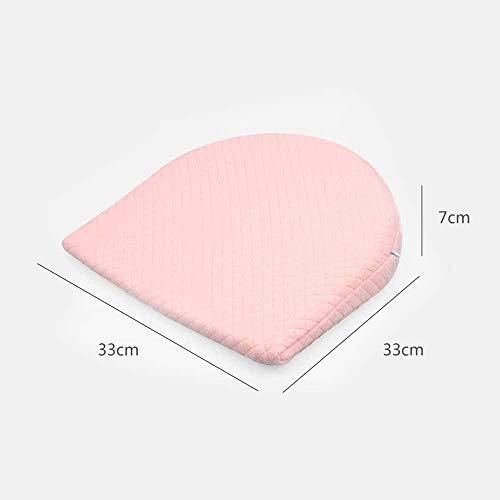 Zacht memory-katoen binnenkussen, licht, ademend, voor baby's, krasbestendig, melk, driehoekig, geneigd, voedend, kinderkussen, 33 x 33 x 7 cm. Semicircle Roze