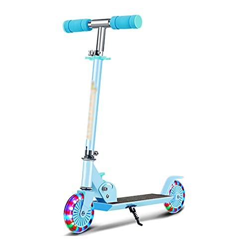 Patinete Scooter Para Niños De 2 A 6 Años De Edad, Niños Con 2 Ruedas De Luz, Scooters De Patadas 3 Altura Ajustable, Aleación De Aluminio Ligero 2 En 1 Scooter Plegable Para Niños ( Color : Blue )