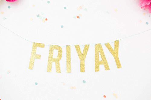 Party Banner FriYay Gold Glitter Party Garland