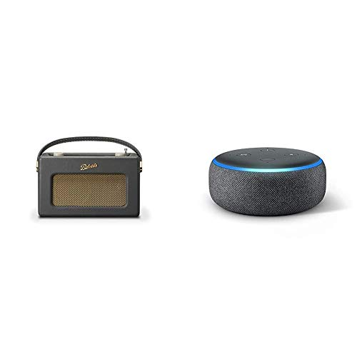 Roberts Radio Wireless Portable Digital Bluetooth Radio Alexa Voice Controlled Smart Speaker Revival iStream 3 - Charcoal Grey & Echo Dot (3rd Gen) - Smart speaker with Alexa - Charcoal Fabric