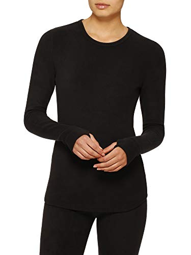 Cuddl Duds ClimateRight by Womens Stretch Fleece Long Sleeve Crew Top/Shirt (S, Black)