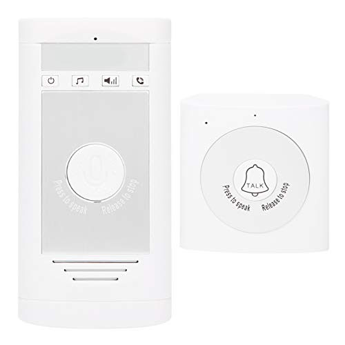 FILFEEL Timbre inalámbrico, intercomunicador de Voz bidireccional Timbre de la Puerta de bajo Consumo de energía Sistema de Seguridad para el hogar (15 Tonos de Llamada)(Plata Blanca)