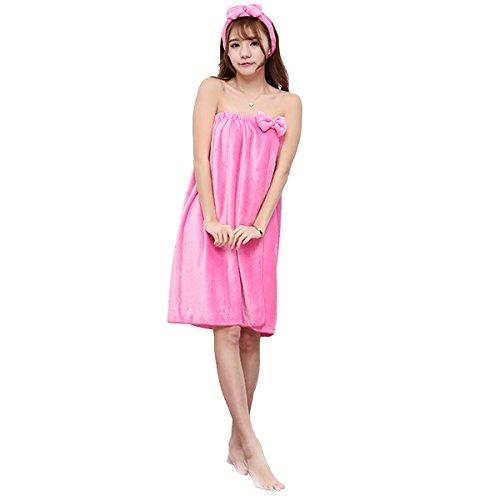 Bluelover Bx-399 flanel zachte badhanddoek badjas voor dames, spa, met haarband
