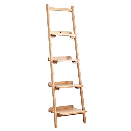 Kanqingqing-Home Boekenkast, moderne ladderkast, 4-dieren-boekenkast, rek/laven/wandrek voor woonkamer, keuken, kantoor, voor woonkamer, slaapkamer, keuken