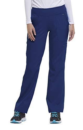 healing hands Purple Label Yoga Women#039s Tori 9133 5 Pocket Knit Waist Pant Scrubs Navy Large Petite