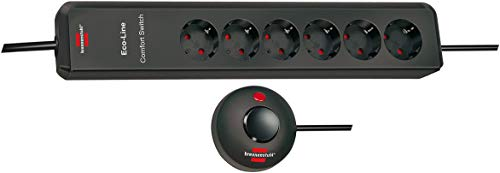 Brennenstuhl Eco-Line Comfort Switch, Steckdosenleiste 6-fach (Steckerleiste mit erhöhtem Berührungsschutz, Fußschalter und 2m Kabel) anthrazit