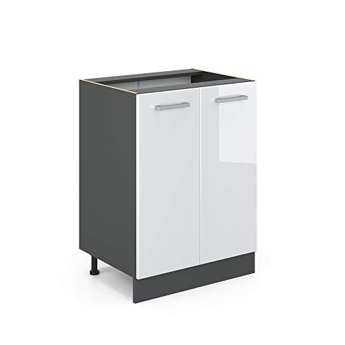 VICCO Küchenschrank R-Line Hängeschrank Unterschrank Küchenzeile Küchenunterschran Anthrazit (Weiß Hochglanz, Unterschrank 60cm)