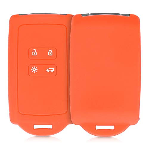 kwmobile Autoschlüssel Hülle kompatibel mit Renault 4-Tasten Smartkey Autoschlüssel (nur Keyless Go) - Silikon Schutzhülle Schlüsselhülle Cover in Orange