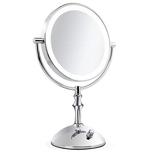 LED Schminkspiegel-Runder Schminkspiegel mit 10-facher Vergrößerung und drehbarem Spiegel