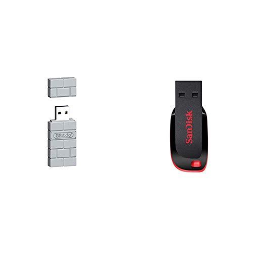 8Bitdo USB Wireless Adapter for PS Classic Edition/Windows/Mac/Raspberry Pi/Switch [ ] [Importación Alemana] + SanDisk Cruzer Blade - Memoria USB de 2.0 de 128 GB