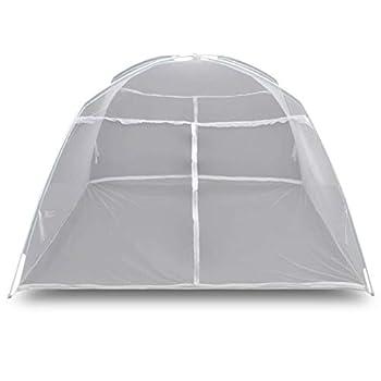 vidaXL Tente de Camping Moustiquaire Pique-Nique Randonnée Barbecue Jardin Extérieur Robuste et Durable 200x180x150 cm Fibre de Verre Blanc