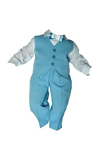 Taufanzug Baby Junge Kinder Kind Taufe Anzug Hochzeit Anzüge Festanzug, 4tlg , Blau-Weiß Größe 86