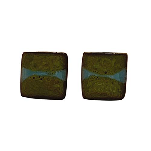 Unique Handmade Ceramic Stud Earrings for Women; Small Green Squares With Blue Stripe; Cute Jewellery Accessories; Gift for Her Mum Sister Girls Friends